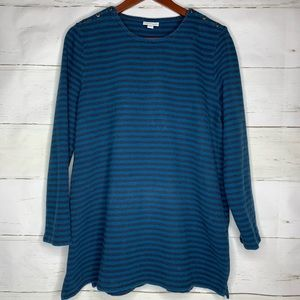 J Jill XL Tunic Blue Stripes Button Detail Cute!